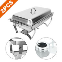 Stainless Steel 9L/8Q 2Pack Chafing Dish Sets Chafer Pans w/ Foldable Legs