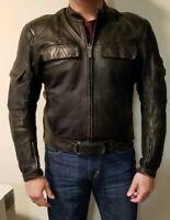 AWESOME TEKNIC BLACK LEATHER PADDED  MOTORCYCLE JACKET MENS SIZE 46 US 56 EU