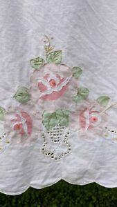 4 Pc Duvet Cover Pink Flower Queen Set Bed Skirt, Duvet Cover & 2 Pillowcases
