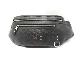 GUCCI GG Guccissima Web Waist Belt Pouch Body Shoulder Bag Leather Black V-5258
