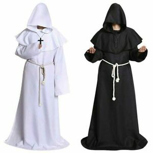 Medieval Monk Robe Dance Party Cosplay Hooded Performance Cape Costume Cloak