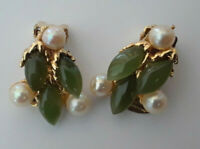 Vintage SWOBODA Jade and Pearl Gold Tone Clip On Earrings  J