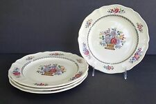 """NM 923 WEDGEWOOD FLORAL BASKET SCALLOPED EDGE 8 3/8""""  SALAD PLATE SET OF 4"""
