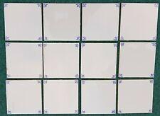 """12 VINTAGE DUTCH DELFT BLUE WHITE OXHEAD CORNERS TILES 13X13 CM (5X5"""")"""