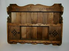 Rustic Pine Wood Wall Shelf Display With Peg Hooks & Sliding Doors, 3 Shelves