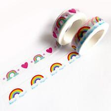 Rainbow Heart & Cloud Paper Washi Tape - 15mm x 10m - Scrapbooking Journalling