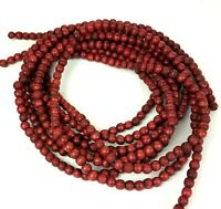 Christmas Tree Garland Wooden Red Bead Wood Vintage 18' (2) 9' Sections 11mm