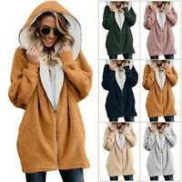 Womens Ladies Fluffy Coat Long Hooded Zipper Winter Warm Pockets Jacket Outwear