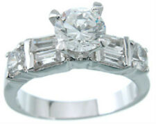 2.25 ct Designer Celebrity Engagement Ring Sterling Silver Platinum Fn Size 9