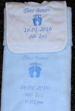 Personalised Embroidered Baby Feet 2 Piece Bib & Blanket Gift Set Blue. Newborn