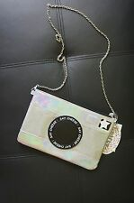Designer Nifty Novelty Holographic Silver Camera Clutch Strappy Bag Purse Quirky