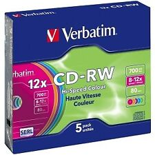 Disco Verbatim Cdrw 700 8/12 Slim 5 color Verbati