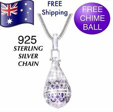 Silver Water Drop Pregnancy Angel Caller Harmony Chime Pendant Necklace + Ball