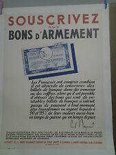 AFFICHE ANCIENNE GUERRE 1939/45 SOUSCRIVEZ AUX BONS D'ARMEMENT