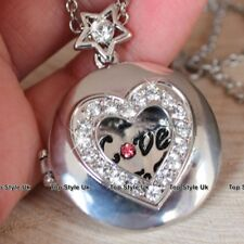 Women Gifts for Her Silver Locket Necklace Engraved I love You Xmas Presents E5