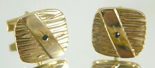 Gold Tone Rounded Square Cufflinks. Textured w Diagonal Band w Black Glass Vntg