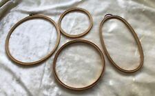 Job Lot Vintage Embroidery Wooden Hoops Large Round - Oval - Small Round