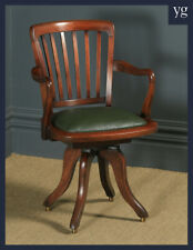 Antique English Victorian Beech Revolving Swivel Office Library Desk Arm Chair