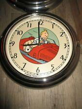 Tintin&Hergé- Ancienne Horloge 32 cm-Dans l Amilcar-Démons&Merveilles-1993-Métal