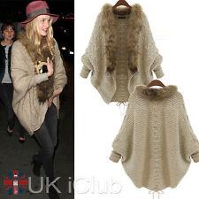 Winter Womens Knitted Batwing Ladies Long Cardigan Faux Fur Sweater Coat Jumper