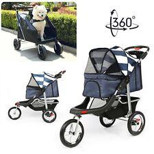 3 Wheels Pet Jogging Stroller Breathable Dog Cat Travel Carrier Folding Stroller