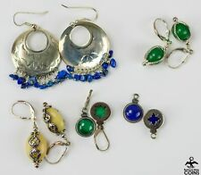 Lot of 5: Relios Inc. Sterling Silver Dangle Earrings w/Lapis & Other Color Gems