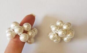 Girls Small Hair Pearl Band Elastic Ponytail Tie Bobbles Unique Ivory 2 elastics