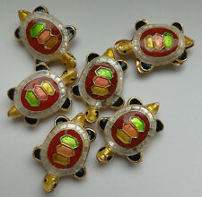 6 Tortoise Cloisonne Beads, White/Red/Multi 20 x 13mm. Jewellery Making/Crafts