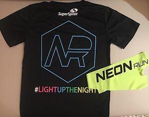 NEON RUN SuperSprint Womens Size 8-10 FLURO Jog Sports Top T-Shirt + Headband