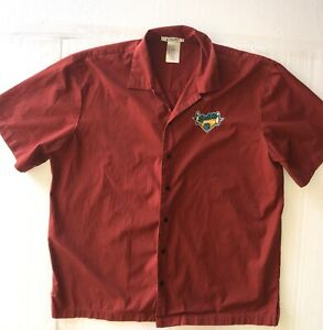 Disney Men's Short Sleeve Bowling Shirt with embroidery on from and back