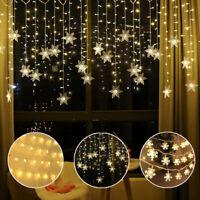 Schneeflocke LED Lichterkette Lichtervorhang Fenster Lichternetz Weihnachtsdeko