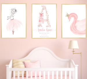 Ballerina Personalised Name Nursery Prints Set Baby Girl Art Pictures Posters