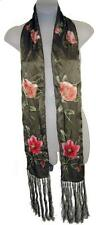 """Amazing Ellen Tracy Long Silk Scarf, Olive with Pink Poppies, Fringed Edge, 66"""""""