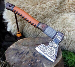 """Premium Slavic Combat  Axe """"Perun"""" Hand Forged Handmade Custom"""