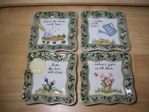 "MWW Market Mini Plate ""How to Grow a Flower"" Spring Planting Set of 4 EUC no Box"