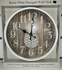 "Rustic White Pineapple 12"" Wall Clock Home Decor"