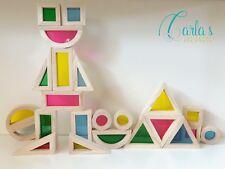 Rainbow Colour Blocks Educational Building Blocks Wooden Toys Montessori Waldorf