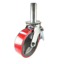 "Scaffold Caster 6"" x 2"" Red Wheels w/ Locking Brakes 1-3/8""  Stem 700 lbs."