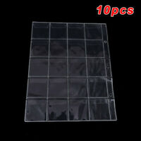 10 Sheet 20 Pockets Plastic Coin Money Album Case Holder Storage Collection Page