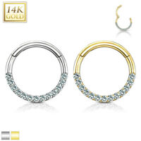 14K GOLD Gem Hoops Clicker NOSE Septum EAR Rings Helix Daith Cartilage Rook Snug