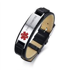 Woman Men Medical Alert Tag Leather Bracelet Engraved TYPE 2 DIABETES Adjustable