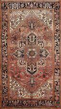 Vintage Geometric Heriz Area Rug Living Room Hand-knotted Oriental Carpet 7x9 ft