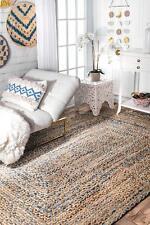 9x12 FeetRectangle Denim Jute Rug Reversible Braided Floor Mat Handmade Area Rug