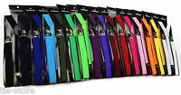 MENS SUSPENDERS BRACES ELASTIC STRONG ADJUSTABLE WEDDING WOMENS - LONG 100CMS