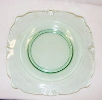 """Vintage Depression Glass 8"""" Square Luncheon Plate Green"""