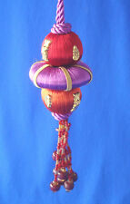 "5½"" purple red gold beaded tassel final Christmas ornament silk balls bead"