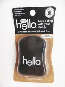 Hello Products Activated Charcoal Infused Floss Natural Peppermint - 54.6 Yards