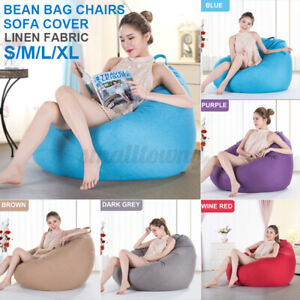 S/M/L/XL Extra Large Bean Bag Chairs Adults Teens Kids Couch Sofa Cover Lazy