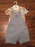 New baby boys ex st dungarees romper set safari age 0-3 3-6 9-12 12-18  months