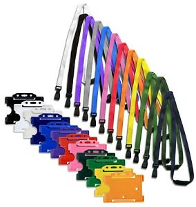 ID Card Badge Holder & ID Soft Neck Lanyard Strap - J-Clip Free P&P